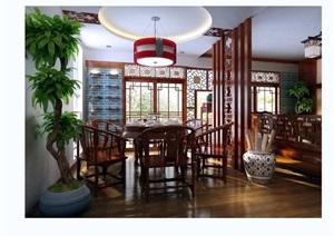 中式客厅设计cad方案图及效果图