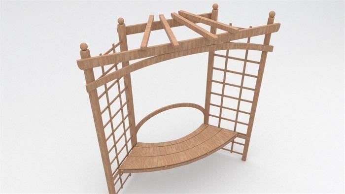 户外木架坐凳素材设计su模型[原创]