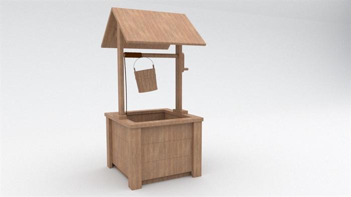 中式木制水井小品su模型[原创]