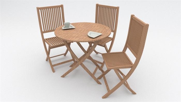 户外桌椅完整组合设计su模型[原创]