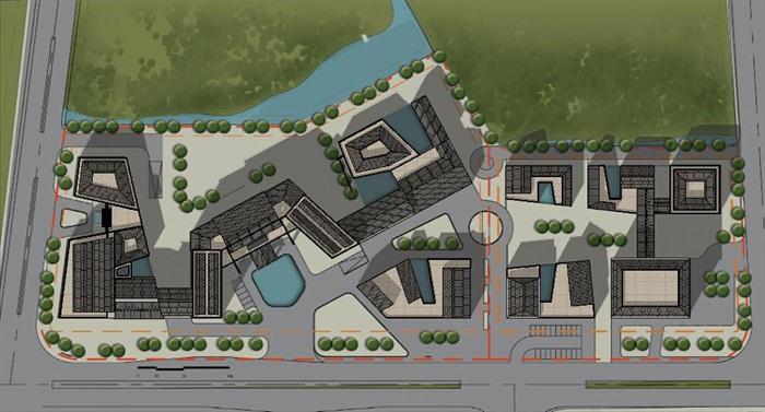 新中式度假商业区详细建筑设计su模型[原创]