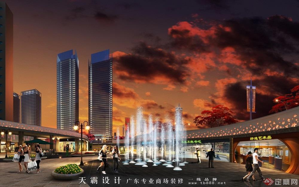 商业街设计效果图案例:枫林广场阶梯店铺