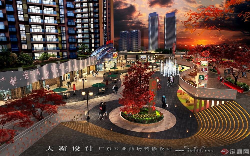 商业街设计效果图案例之长沙枫林广场鸟瞰(黄昏)效果图