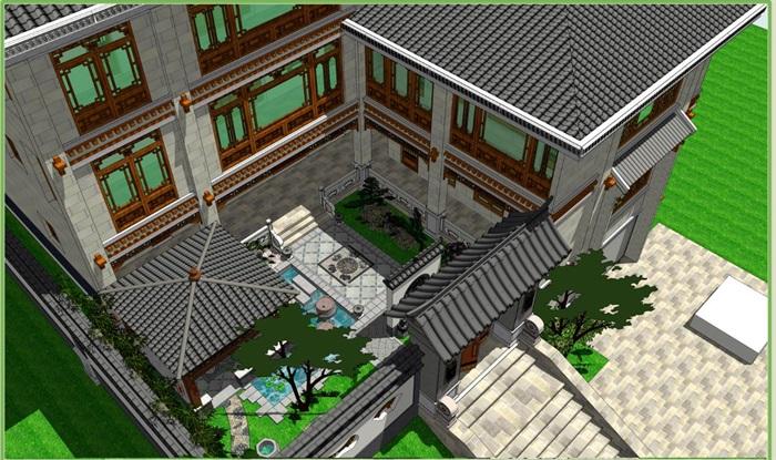 新中式别墅与庭院景观方案su模型[原创]
