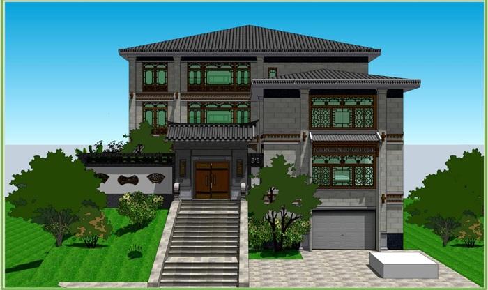 毕业设计——新中式别墅与庭院景观方案su模型(9)