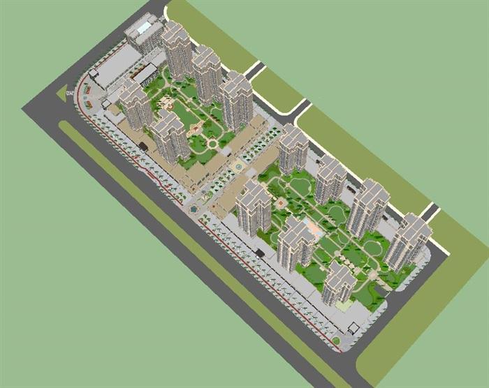 欧式紫华庭商住小区建筑与景观su模型[原创]