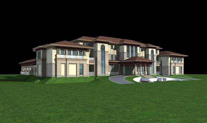 欧式会所建筑方案su模型(附3dmax模型与cad建筑图)