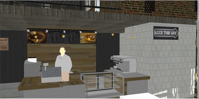 现代休闲咖啡馆SU模型(1)