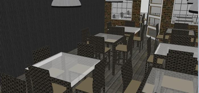 现代休闲咖啡馆SU模型(2)
