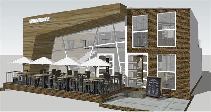 现代休闲咖啡馆SU模型(3)