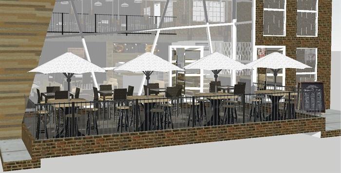 现代休闲咖啡馆SU模型(4)