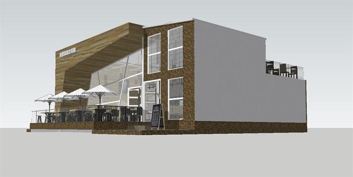 现代休闲咖啡馆SU模型(6)