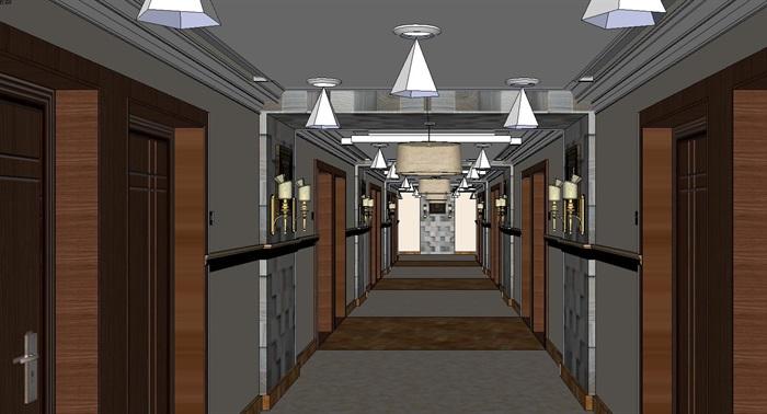 高级酒店过道走廊装潢方案SU模型(1)