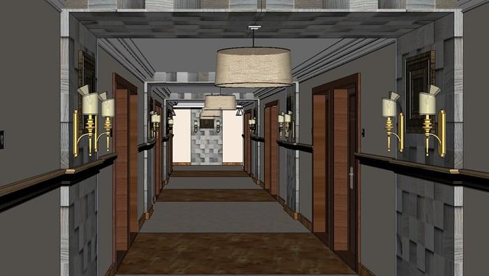 高级酒店过道走廊装潢方案SU模型(2)