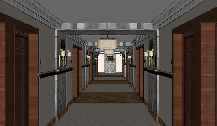 高级酒店过道走廊装潢方案SU模型(3)