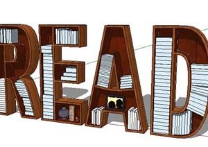 创意字母书柜设计SU(草图大师)模型