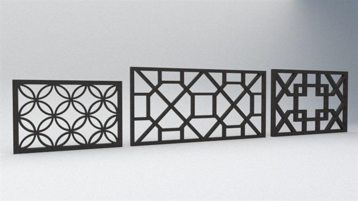 6款中式窗格花窗设计su模型