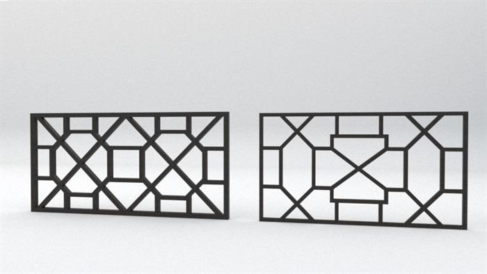 中式窗格8款素材su模型