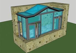 某工程阳光房素材设计SU(草图大师)模型