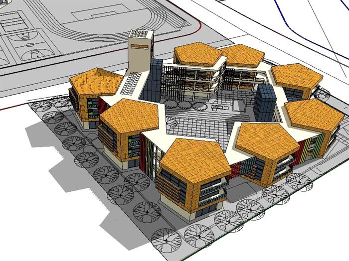 某现代独特造型的幼儿园建筑设计su模型[原创]