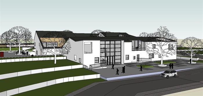 坡屋顶中式幼儿园建筑设计su模型