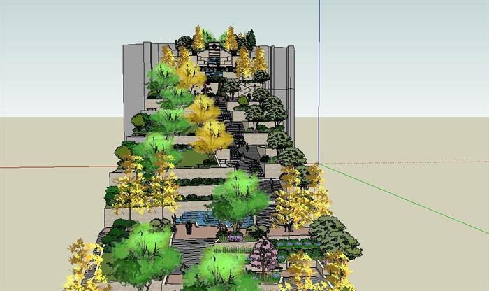 山地景观长廊详细设计su模型[原创]