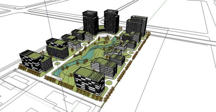 创新产业园区办公建筑设计su模型[原创]