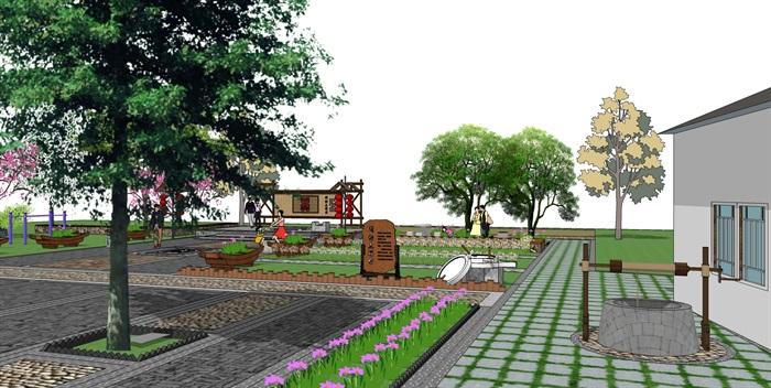 中式休闲小广场景观节点方案设计su模型[原创]