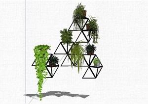 垂直绿化架素材设计SU(草图大师)模型
