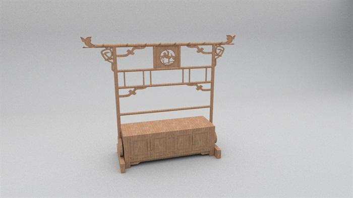 中式木柜独特造型设计su模型