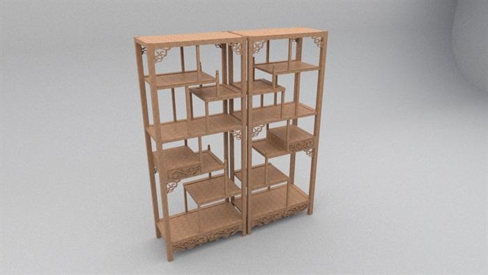 中式木柜书架设计su模型