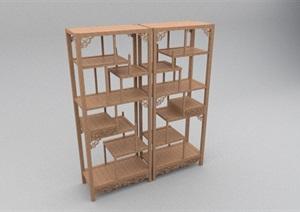 中式木柜书架设计SU(草图大师)模型