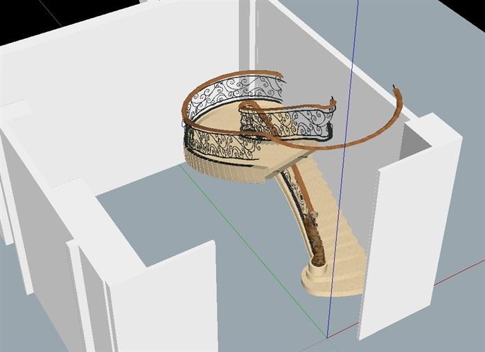 某欧式卢浮宫楼梯设计su模型(3)