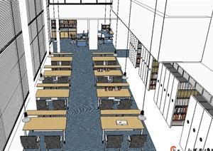 图书馆详细室内空间设计SU(草图大师)模型