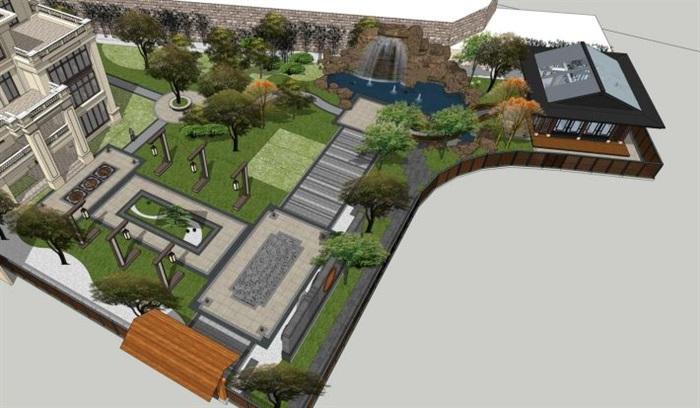 新中式别墅庄园建筑与景观方案su模型[原创]