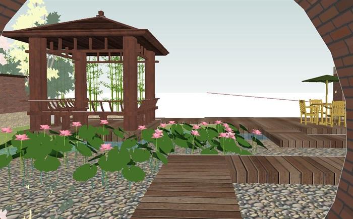 新中式屋顶花园景观方案su模型[原创]
