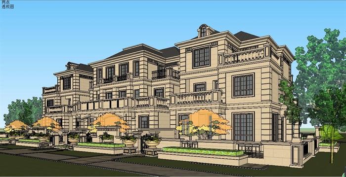 上海精品法式風格別墅建筑SU模型,模型為法式風格,模型有材質貼圖,制作詳細獨特精致完整,具有一定的使用價值,有需要請下載使用。
