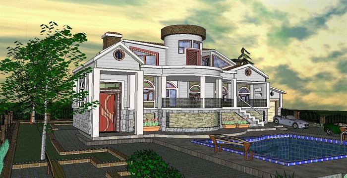 精品美式風格別墅建筑SU模型,模型為美式風格,模型有材質貼圖,細節處理得當詳細精致完整,具有一定的使用價值,歡迎下載使用。