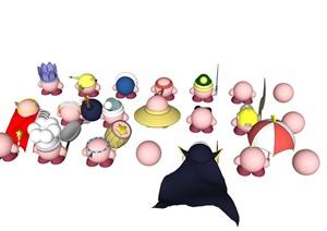 多种不同的动物装饰素材SU(草图大师)模型