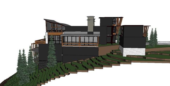 山地木结构别墅建筑设计su模型[原创]