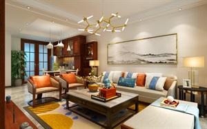 建业十八城新中式风格下沉别墅空间案例欣赏