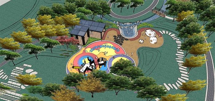 某现代住宅小区儿童活动区设计su模型[原创]