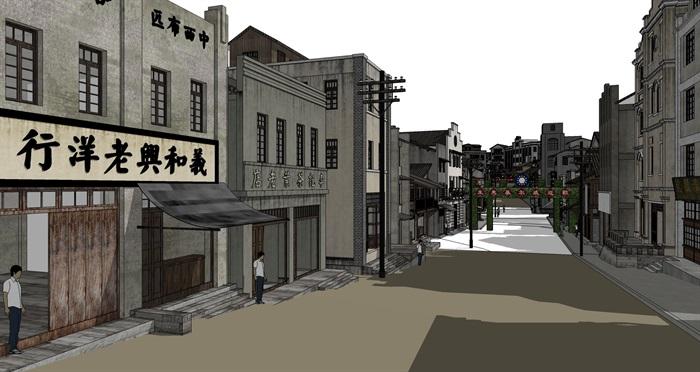 民国风复古怀旧历史文化街区商业古街改造中式建筑方案设计su模型(1)
