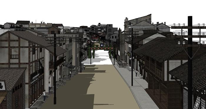 民国风复古怀旧历史文化街区商业古街改造中式建筑方案设计su模型(3)