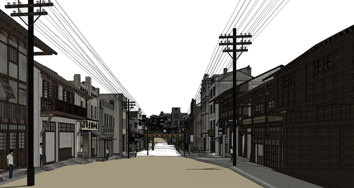 民国风复古怀旧历史文化街区商业古街改造中式建筑方案设计su模型(4)