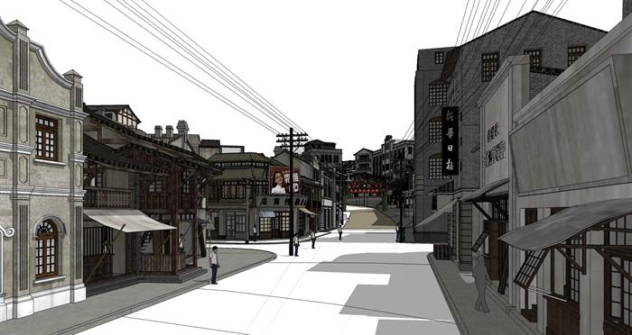 民国风复古怀旧历史文化街区商业古街改造中式建筑方案设计su模型(5)