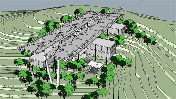 山地旅馆会所活动中心建筑设计su模型[原创]图片