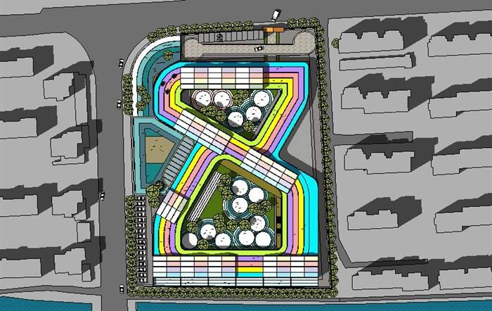 创意屋顶跑道幼儿园详细建筑设计su模型[原创]