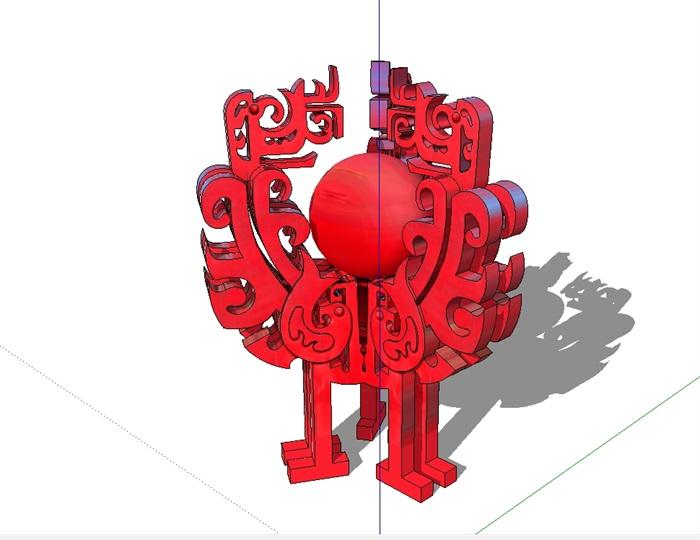 多种中式雕塑素材详细设计su模型[原创]