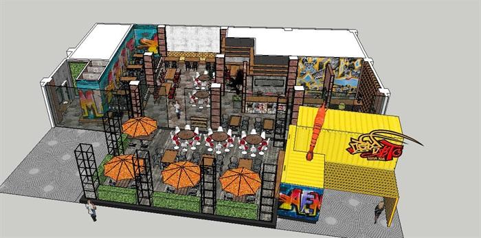 工艺复古嘻哈风特色loft餐厅设计su模型